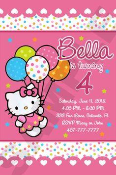 HELLO KITTY BIRTHDAY PARTY INVITATION CUSTOM PHOTO Hello Kitty Birthday Invitations, Birthday Party Invitations, Double Birthday Parties, 3rd Birthday, Birthday Ideas, Printable Invitation Templates, Invitation Ideas, Custom Photo, Kitty Tattoos