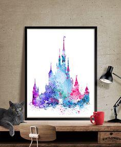 Arte imprimir Disney Castillo de arte arte de por FineArtCenter