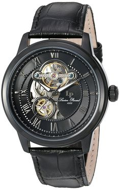 0d56840e1c22e Lucien Piccard Men s  Optima  Stainless Steel and Leather Automatic Watch