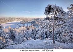 Stock Photo: Snowy landscape at Aulanko nature park in Finland. Icy lake and forest view from the viewpoint . HDR image.