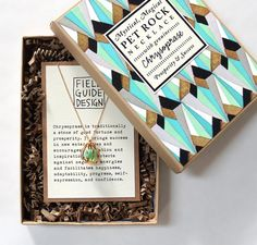Fantastic packaging: Chrysoprase Pet Rock Necklace for Prosperity and Success Necklace Packaging, Jewelry Packaging, Box Packaging, Jewelry Branding, Packaging Design, Product Packaging, Product Label, Jewerly Box Diy, Rock Necklace