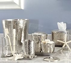 Hammered Nickel Bath Accessories from Pottery Barn. Shop more products from Pottery Barn on Wanelo. Silver Bathroom, Glass Bathroom, Master Bathroom, Barn Bathroom, Brushed Nickel Bathroom Accessories, Pottery Toothbrush Holder, Bathroom Canisters, Bathroom Shelves, Bathroom Organization