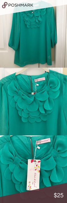 Ladies boutique blouse size small, NEW! Ladies boutique sheer blouse in a beautiful shade of green. Size small. Love the detail at the neckline. 3/4 sleeve. New with tags. Tops Blouses