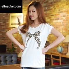 Womens  Loose Leopard Round Collar Batwing Short Sleeve White Tshirt