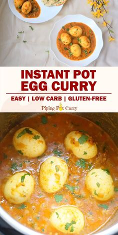 Curry in Instant Pot Easy, comforting and creamy Egg Curry recipe in under 30 minutes. Make the curry sauce and boil the eggs together with this Instant Pot Egg Curry Best Egg Recipes, Indian Veg Recipes, Paneer Recipes, Curry Recipes, Vegetarian Recipes, Cooking Recipes, Healthy Recipes, Fijian Recipes, Healthy Food