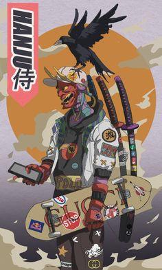 Black Anime Characters, Graffiti Characters, Japon Illustration, Japanese Illustration, Arte Cyberpunk, Cyberpunk Aesthetic, Urban Samurai, Samurai Wallpaper, Samurai Artwork
