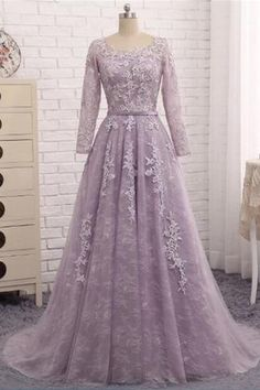 Vintage prom dress, elegant prom gown wedding dress with sleeves. Purple Evening Dress, Prom Dresses Long With Sleeves, A Line Prom Dresses, Event Dresses, Quinceanera Dresses, Dress Prom, Hijab Evening Dress, Bridesmaid Dresses, Cheap Formal Dresses