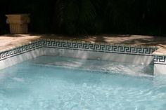 Greek Key Swimming Pool Custom Waterline - traditional - pool - miami - Agape Tile LLC