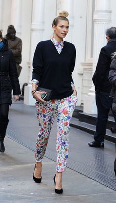 floral jumpsuit with sweater