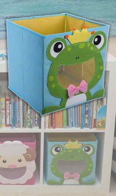Here's a stylish storage option for parents on a budget! Turn clean up time into a fun game with this cheerful Frog Prince storage bin. It fits into most cubbie storage systems and folds flat when not in use. Get the whole set of animal themed bins, including monkey, sheep, bumblebee, shark, & more!