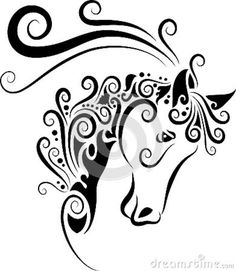 easy drawings of horse | Easy Horse Head Drawinghorse Head Ornament Stock Photo Image Wodthnd