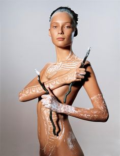 Tiiu Kuik for Vogue Italia. Body Makeup