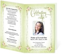 Obituary Funeral Bulletins Templates: Soft floral framing with delicate pink corners and soft green ray of light. Very feminine and sweet microsoft template.