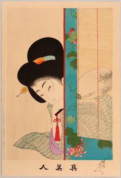 'Peeking around the corner', woodblock print by Toyohara Chikanobu, ca. 1898.