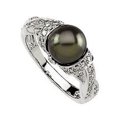 freshwater black pearl ring