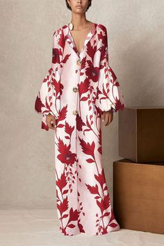 Product V Collar long-sleeved printing loose casual maxi dress Brand Name Joygos SKU Gender Women Style Elegant/Sexy/Fashion Type Maxi Dresses Material Polyester Decoration Printing Please Note:All dimensions are measured manually with a deviation of 1 to Maxi Dress With Sleeves, Floral Maxi Dress, Boho Dress, Short Sleeve Dresses, Long Sleeve, Dress Red, Blouse Dress, Look Fashion, Fashion Beauty