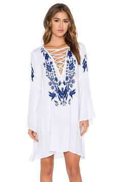 GLAMOROUS Peasant Dress in White & Blue