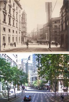Hunter Street, Sydney 1915 and 2010.    [1915: Trove/State Library of NSW - 2010: Google Street View/by Phil Harvey]