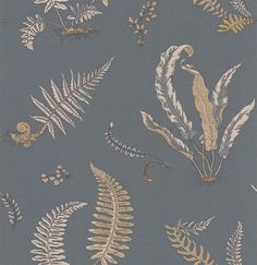 Ferns Charcoal and Gold wallpaper by G P & J Baker