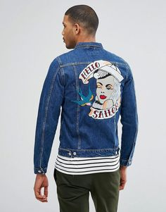 Get this Just Junkies's denim jacket now! Click for more details. Worldwide shipping. Just Junkies Denim Jacket With Sailor Back Applique - Blue: Denim jacket by Just Junkies, Midweight denim, Dark-wash finish, Classic point collar, Button placket, Functional pockets, Hello Sailor back applique, Regular fit - true to size, Machine wash, 100% Cotton, Our model wears a size Medium and is 189cm/6'2.5 tall. Self-confessed �suckers for denim�, Just Junkies started out designing jeans before ex...