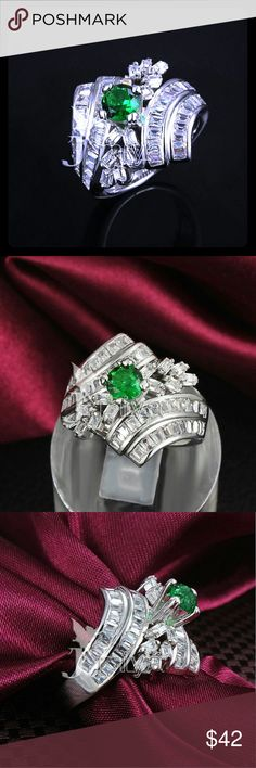 🎁18K White Gold 🎁Filled Emerald CZ Ring 18K White Gold Filled Emerald CZ Ring - Size 6  New in Plastic Packaging Jewelry Rings