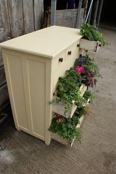 Repurposed dresser planter
