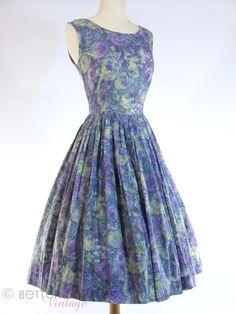 50s/60s Purple Floral Day Dress - sm