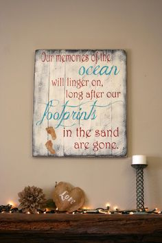 Our Memories Of The Ocean Pallet Sign Beach Sign Beach Pallet Distressed Wood Shabby Chic Handpainted Wood Beach House Vintage Decor by RusticlyInspired on Etsy
