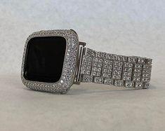 Custom Apple Watch Bands, Apple Watch Bands Fashion, Apple Watch Accessories, Party Accessories, Candy Watch, Gold Apple Watch, Iphone Watch, Silver Labs, Lab Diamonds