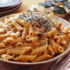 Pumpkin Penne Pasta - i added sausage, used dried sage, added rosemary and tyme to this dish and it was really good!