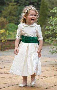 ad7f50ef40a Amelia Brennan - Silk flower girl dress with peter pan collar Ivory  Bridesmaid Dresses