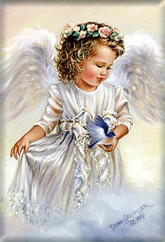Young girl angel on cloud. dona gelsinger
