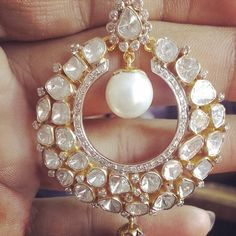 Diamond Earrings With Style! India Jewelry, Pearl Jewelry, Wedding Jewelry, Diamond Jewelry, Antique Jewelry, Gold Jewelry, Pearl Earrings, Ethnic Jewelry, Pearl Bracelet