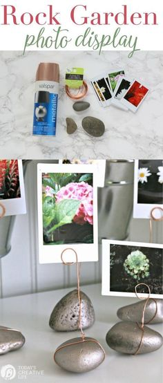 Rock Garden Photo Display |This DIY project is great for displaying any photos. Gather rocks from vacation destinations to display matching vacation photos. Follow my tutorial to make your own. http://TodaysCreativeLife.com