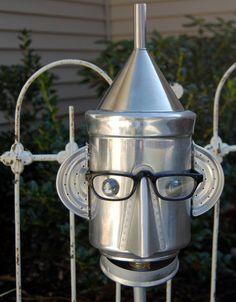 Pot Head Yard Art by TheEclecticInterior on Etsy Metal Wall Art Decor, Metal Yard Art, Metal Art, Recycled Garden, Recycled Art, Repurposed, Garden Crafts, Garden Art, Sculpture Metal