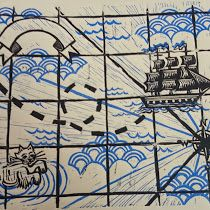 Printmaking: Treasure Map with a kittyserpent by Kristina Ayala of Pufferfish Press - Pacifica, CA 2015