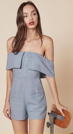 #summer #trending #outfitideas | Grey Romper