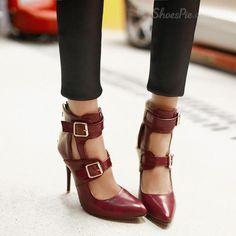 Womens Pumps Pointy Stilettos Plus Size Buckle Cut Out Fashion 2015 Sweet Shoes Pump Shoes, Women's Pumps, Flats, Black Dress Sandals, Sexy Summer Dresses, Cut, Girls Shoes, Shoes Women, Sexy High Heels