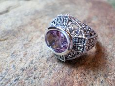 Pink Amethyst Ring, Pink Ring, Pink Gemstone Ring, Sterling Silver Ring, Pink…
