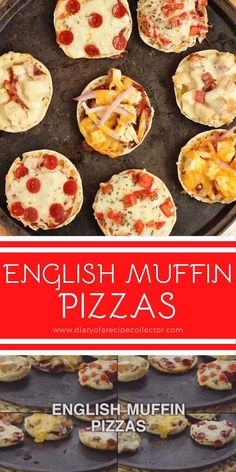English Muffin Pizzas – This little recipe has many combinations to make the most wonderful little pizza snacks on the planet. English Muffin Pizza, Pizza Snacks, Cheesy Recipes, Chicken Recipes, Microwave Bacon, Recipe Collector, Pizza Muffins, Good Food, Awesome Food