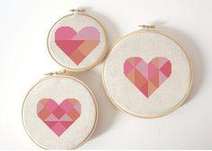 Geometric modern cross stitch heart patterns от AnimalsCrossStitch
