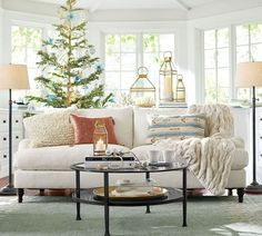 Pottery Barn 2015 Carlisle Collection, Tanner, Meredith, Chelsea, Ruched fur throw, Desa tufted rug.