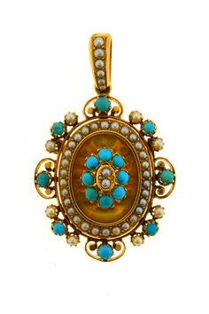 Ornate Victorian Pearl and Turquoise Pendant. Stunning design and quality make this Victorian pendant a piece to cherish. It is set with 16 cabochon turquoise and accented with pearls. Each stone is set precisely in the 18 karat yellow gold. The back of the pendant has a compartment with a glass door, which could contain hair or a picture.