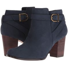 Cole Haan Cassidy Strap Bootie (Blazer Blue Nubuck) Women's Dress... ($210) ❤ liked on Polyvore featuring shoes, boots, ankle booties, ankle boots, navy, navy blue bootie, strappy ankle boots, navy booties, blue booties and buckle booties