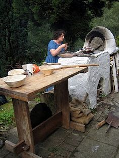 Sally Grainger in her outdoor Roman kitchen