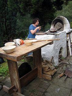 Sally Grainger in her outdoor Roman kitchen