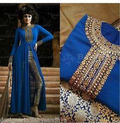 Blue-designer-bollywood-indian-pakistani-salwar-kameez-stone-dress-jaquard-pant