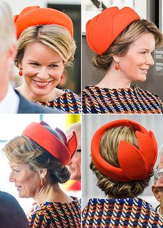 From the front, the hat looks like an embellished pillbox; from the back, it proves to be another of Fabienne Delvigne's open crown designs, trimmed with large leaves around the right side. The entire piece is covered in orange silk.