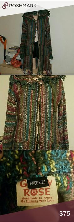 $dropGypsy Rose Beautiful sweater coat! Free size. Coat like warm, Preowned, missing buttons, never used the buttons anyways, easy to find if need them on. Made well, thick & super boho! Tag says Free size is actually like a med.  Has some piling, not much, on inside, see pics.  reduced again for that. Gypsy Rose Sweaters Cardigans