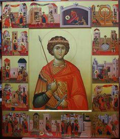 Heilige Joris met vita Byzantine Art, Byzantine Icons, Russian Icons, Religious Icons, Saint George, Orthodox Icons, Holy Spirit, Roman Catholic, Saints